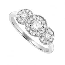 18ct White Gold 3-stone Diamond Halo Ring