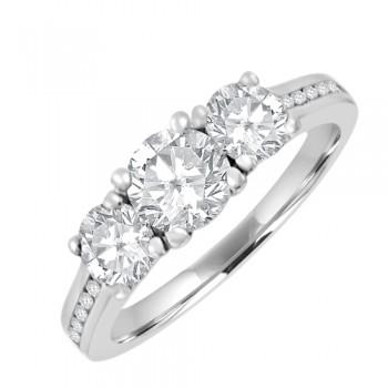 18ct White Gold 3-stone Certified GVS2 Diamond Ring