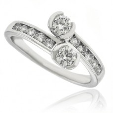 18ct White Gold Two Stone Diamond Cross Over Ring