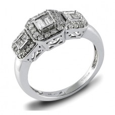 18ct White Gold Three Stone Baguette Diamond Halo Ring