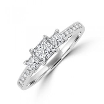 18ct White Gold Three-stone Princess cut Diamond Ring
