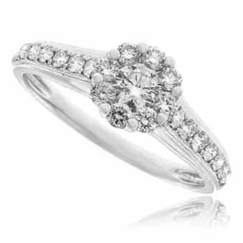18ct White Gold 9-stone Diamond Solitaire Cluster Ring