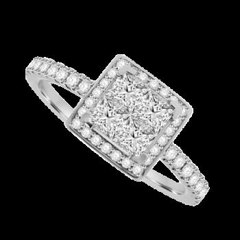 18ct White Gold 4-Stone Princess cut Diamond Cluster Halo Ring