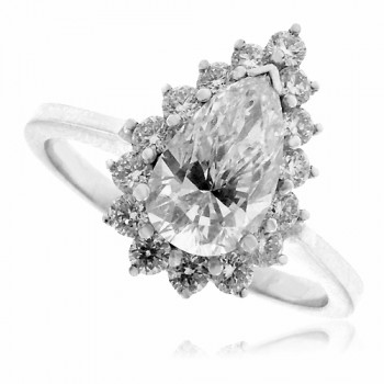 18ct White Gold 16-Stone Pear cut Diamond Cluster Ring