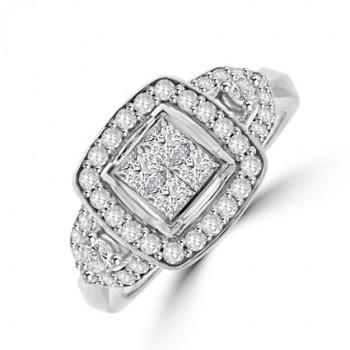 18ct White Gold Princess cut Diamond Tri-cluster ring