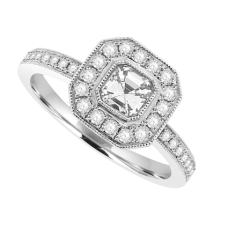 18ct White Gold Asscher cut Diamond Solitaire Halo Ring