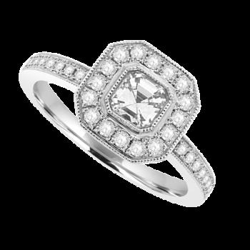 18ct White Gold Asscher cut Diamond Solitaire Halo Ring