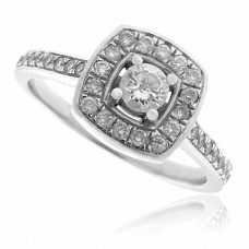 18ct White Gold Diamond Solitaire Square-Halo Ring