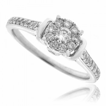 18ct White Gold Solitaire Cluster Ring