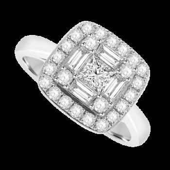 18ct White Gold Princess & Baguette cut Diamond Cluster Halo