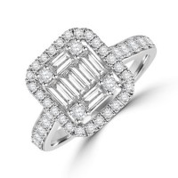 18ct White Gold Baguette Diamond Cluster Halo Ring