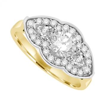 18ct Gold Diamond 3-stone Brilliant & Pear cut Diamond Halo Ring