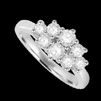 18ct White Gold 8 Diamond Cluster Ring
