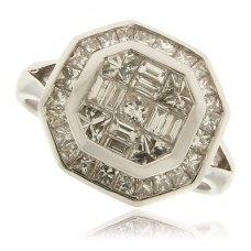 18ct White Gold Princess & Baguette Diamond Octagonal Ring