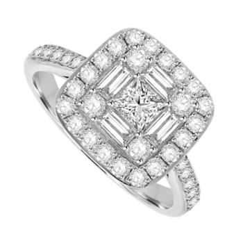 18ct White Gold Princess & Baguette Diamond Cluster Halo Ring