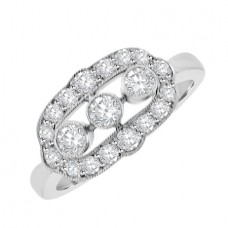 18ct White Gold Three-stone Diamond Vintage