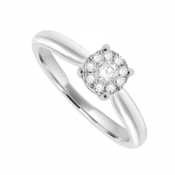 18ct White Gold 1.00ct Illusion Solitaire Diamond Ring
