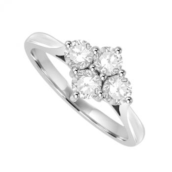 18ct White Gold 4-stone 2x2 .53ct Diamond Cluster Ring