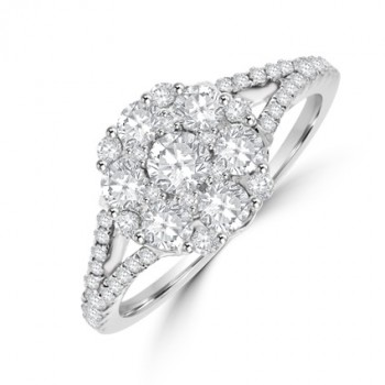18ct White Gold 19-stone Diamond Cluster Ring