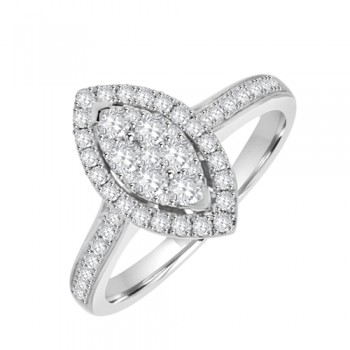18ct White Diamond Cluster ring - Marquis Shaped Multi/Stone