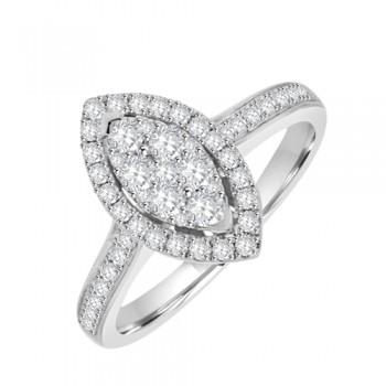 18ct White Gold Diamond Marquise Illusion Halo Ring