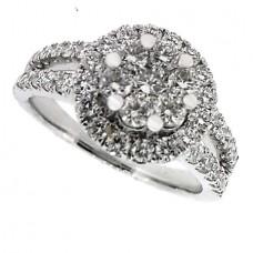 18ct White Gold 7-stone Diamond Cluster Halo Ring