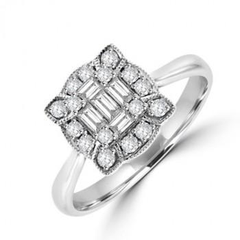 18ct White Gold Baguette Diamond Vintage Cluster Ring