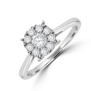 18ct White Gold Diamond Starburst Ring