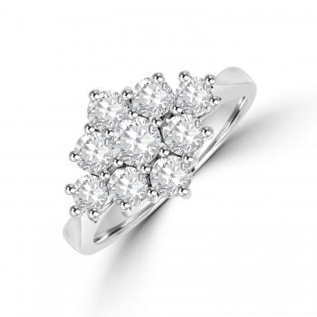 18ct White Gold 3x3 1.22ct Diamond Cluster Ring