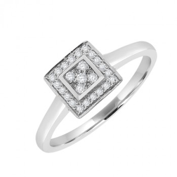 18ct White Gold Square Diamond Cluster Halo Ring