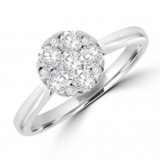 18ct White Gold Solitaire Cluster Diamond Ring