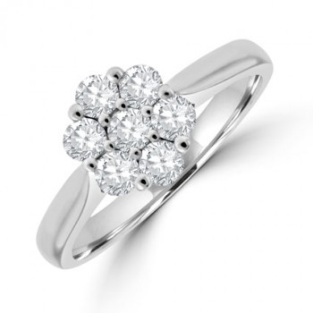 18ct White Gold 7-stone Diamond Daisy Cluster Ring