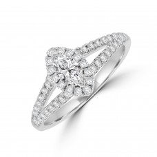 18ct White Gold Marquise cut Diamond Halo Ring