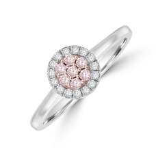 18ct White Gold Pink Diamond Cluster Halo Ring