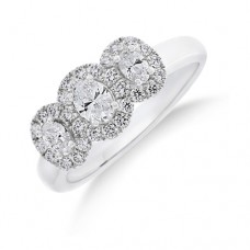 18ct White Gold Triple Diamond Halo Ring