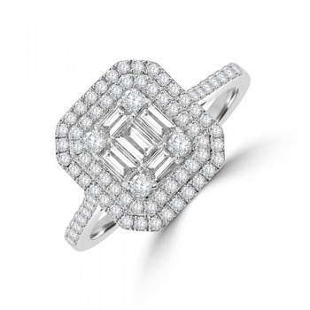 18ct White Gold Baguette Cluster 1.00ct Diamond Halo Ring