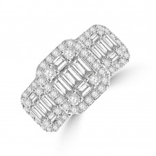 18ct White Gold Triple Baguette Diamond Cluster Ring