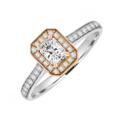 18ct White & Rose Gold Phoenix Diamond Halo Ring