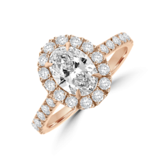 18ct Rose Gold Oval Diamond Halo Ring