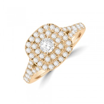 18ct Rose Gold Double Halo Diamond Cluster Ring