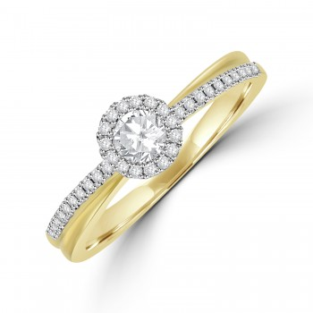 9ct Gold Solitaire Halo Diamond Cross over Ring
