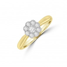 18ct Gold 9-stone Diamond Daisy Cluster Ring