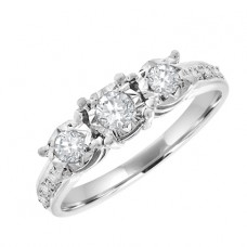9ct White Gold Three-Stone Diamond Ring