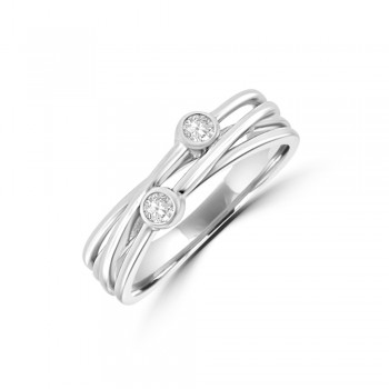 9ct White Gold Crossover Diamond Ring