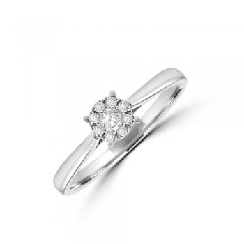 9ct White Gold Diamond Solitaire-Illusion Ring