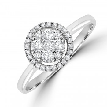 9ct White Gold 9-stone Diamond Cluster Halo Ring
