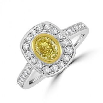 Platinum & 18ct Gold Oval Yellow Diamond Halo Ring
