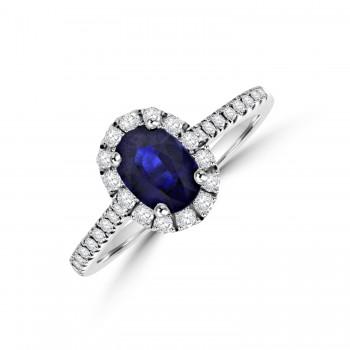 18ct White Gold Sapphire Diamond Halo Ring