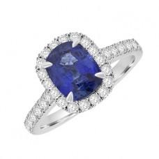 Platinum Sapphire & Diamond Cushion Halo Ring