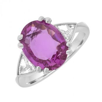 Platinum 3-Stone Pink Sapphire & Diamond Ring